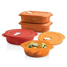 Tupperware CrystalWave® 4-Pc. Set - Your ideal, on-the-go meal solution. Stackable, modular shape maximizes refrigerator space. Containers nest for compact storage and feature textured, scratch-resistant bottoms.  Microwave-reheatable products are not intended for cooking. Typical reheating is at 50-70% power, depending on the wattage of your microwave. Check your owner's manual for more information.  Includes 2½-cup Round 4¼-cup Round and two 4-cup Rectangulars.