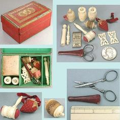 Antique Georgian Child's Sewing Box & Tools * English * Circa 1810