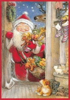 New double Christmas card by Lisi Martin, Santa, puppy, gifts • CAD 6.52 - PicClick CA