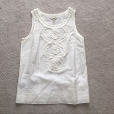 J. Crew. Cotton-silk ruffle swirl Tank. Ivory. Brand new with tags! Price is firm.   no trades ✖️ no holds ♻️ if it's listed, it's available J. Crew Tops Tank Tops