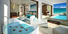 Sandals Royal Barbados Accommodations - Beachfront One Bedroom Skypool Butler Suite w/ Balcony Tranquility Soaking Tub - BSKY