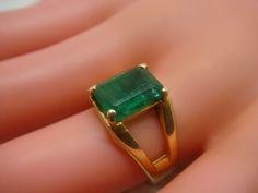 Antique 18K Yellow Gold and Rectangular Emerald Ring