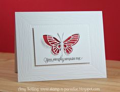 simple; memory box butterfly with lil'inker designs texture plate & sentiment; You simply amaze me, via Flickr.