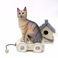 Cat Music Boxes | Toy Wooden Cat Enesco Music Box by WhimzyThyme #spring #garden #cat ...