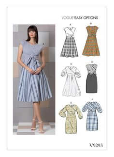 Sewing Patterns Easy Sewing Pattern for Misses' Dress with Many Options, Vogue Pattern Womens Dress Pattern, Easy Sew, - Sewing Pattern for MISSES' DRESS Many Options with this Easy Sew Pattern for Dresses Mock Wrap Bodice with Sleeve, Skirt Dress Sewing Patterns, Vintage Sewing Patterns, Clothing Patterns, Summer Dress Patterns, Mccalls Patterns, Coat Patterns, Vogue Patterns, Miss Dress, The Dress