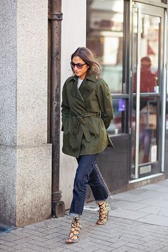 military green trench