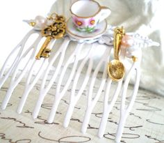 Tea Hair Comb Alice in Wonderland Inspired by VictorianSwag, $19.80