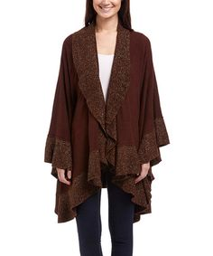 Love this Brown & Gold Ruffle Open Cardigan on #zulily! #zulilyfinds