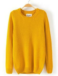 Solid Round Neckline long sleeve Sweater Yellow