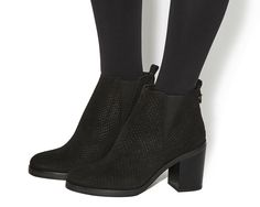 Buy Black Snake Embossed Suede Office Illusion Block Heel Chelsea Boots from…