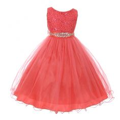 Big Girls Coral Stretch Lace Glitter Stone Sash Junior Bridesmaid Dress 8-14