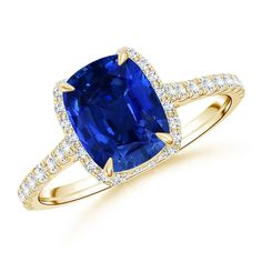 Diamond Half Halo Cushion Sapphire Claw Ring