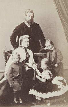 Crown Prince Friedrich of Prussia, with consort, Crown Princess Victoria (Queen Victoria's eldest daughter) and four eldest children : Wilhelm, Charlotte, Heinrich, and baby Sigismund. 1865.