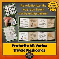 AR, Reflexive Preterite Verbs Trifold Flashcards, Pretérito   A new way to teach verbs and grammar so that your students learn to use them in context.  Free samples available in the resource description.