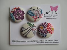 4 buttons made from vintage Japanese silk kimono fabric. Cream Multi. 29mm. by Jasuin on Etsy