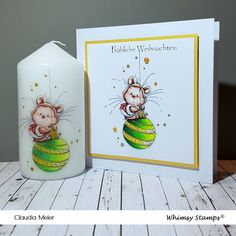 Claudia's Karteria: Cooler Weihnachtshamster | Cool Christmas hamster ... Whimsy Stamps, Hamster, Prismacolor, I Card, Cool Stuff, Christmas, Blog, Crafts, Xmas