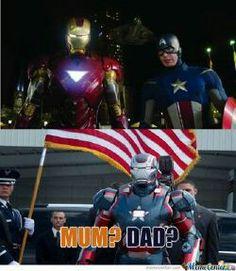 Iron Man and Captain America's baby Iron Patriot LOLZ!!!