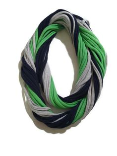 12th Man Seattle Seahawks Loopy Infinity Scarf - Upcycled from Recycle Tshirts - Blue Green Gray Football Jersey Necklace on Etsy, $20.00