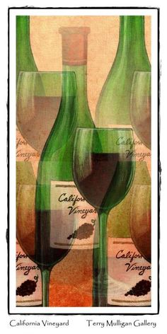 Terrific wine lover's print ... California Vineyard Wine Bottle and Glass
