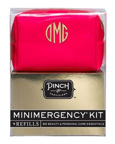 Minimergency Kit For Her in OMG Neon Red by Pinch Provisions: Zip-around case contains hairspray, nail polish, nail polish remover, emery board, lip balm, earring backs, clear elastics, sewing kit, double-sided tape, stain remover, deodorant, towlette, pain reliever, tampon, breath freshener, dental floss, and an adhesive bandage.