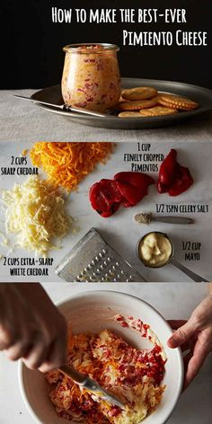 You are mere steps from heaven. How To Make The Best-Ever Pimiento Cheese -- um yeah. Pimento Cheese Recipes, Pimiento Cheese, Pimento Cheese Recipe Without Cream Cheese, Cheese Dips, Appetizer Recipes, Appetizers, Great Recipes, Favorite Recipes, Homemade Cheese