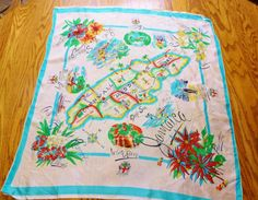 Vintage Jamaica Souvenir Scarf Flowers and by