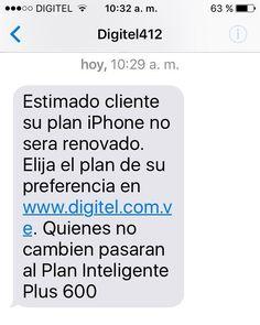 Digitel continua proceso de unificación de planes y servicios.Turno de planes iPhone que ya no van mas..Usuarios deben cambiar a plan inteligente LTE que mas le convenga. @digitel412
