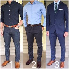 All Blue Which is your favorite style❓ 1 - casual, 2 - business casual, or 3 - dressy/formal❓T...