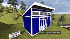10x14 Modern Shed Plan image.  http://www.DIY-Plans.com