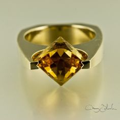 18K 750 yellow gold fancy cut citrine cocktail ring..citrine brings wealth on all levels and keeps away negativity