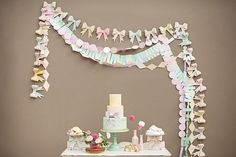 Watercolor bunting cake backdrop