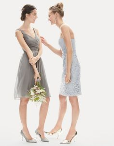 J.Crew women's Heidi dress in silk chiffon and Cathleen dress in Leavers lace. To pre-order, call 800 261 7422 or email verypersonalstylist@jcrew.com.