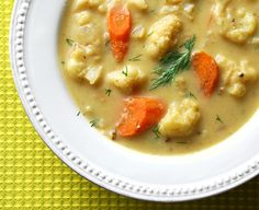 A big, warm bowl of comfort: Roasted cauliflower and dill soup