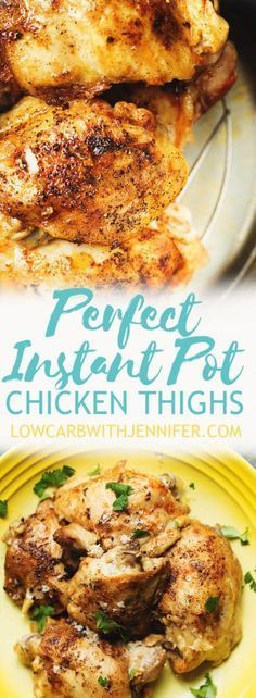 Instant Pot Chicken Thighs are so easy to make, tender, and full of flavor. I used bone in chicken thighs, but this method would work with boneless skinless chicken thighs as well. low carb | keto | keto dinners | low carb dinners