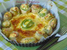 Torta salata con rotoli di zucchina e ricotta