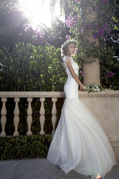 Short Sleeve Wedding Dress, Fit and Flare Style. Worth Avenue. Palm Beach Bride