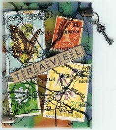 Theme: Postage Stamps (created with transparencies, stamps, alcohol inks, postage stamps and a charm)