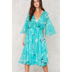 Giorgio di Sant'Angelo Vintage On Air Chiffon Dress (24,340 PHP) ❤ liked on Polyvore featuring dresses, green, vintage dresses, green floral dress, blue floral dress, chiffon dress and plunging neckline dress
