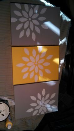 Diy grey and yellow canvas art
