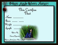 One Of A Kind Reborn Birth Certificates