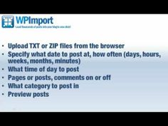 "WP Import Plugin Review. ""Set It & Forget It!"" Here's a WP plugin you can install on an unlimited number of your WordPress blogs. Upload a zip file, it uploads posts (draft, scheduled, past, present, or future), categorizes, and spaces them out in any way you specify.  http://iangsreviews.com/wp-import-plugin-review/"
