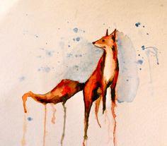 fox watercolor Tattoo Idea, Art Inspir, Tattoos, Heart Art, Fox Watercolor, Watercolor Fox, Foxes, Fox Tattoo