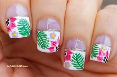 Wide #frenchmanicure with #tropical #flower #nailart French Manicure Nails, French Manicure Designs, Nail Designs, Easy Nail Art, Nail Tutorials, Simple Nails, Nailart, Easy Diy, Tropical