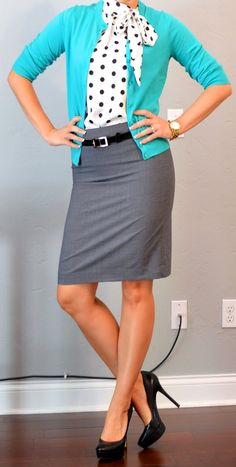 teal cardigan, grey pencil skirt, polkadot tie blouse. Love this.