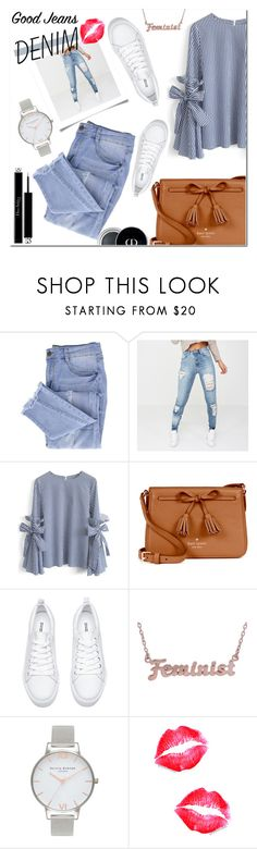 """""""Distressed Denim love"""" by lynksmichelle on Polyvore featuring Essie, Chicwish, Kate Spade, me you, Olivia Burton, Christian Dior, StreetStyle, women, distresseddenim and contestentry"""