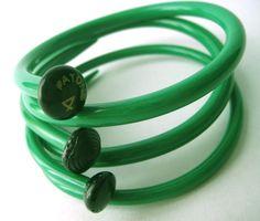 Upcycled Knitting Needle Bracelets Kelly Green by sewnewthings, $32.00