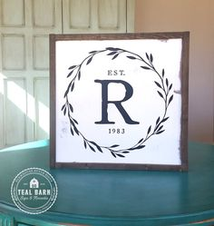 Family Initial Sign Established Date Laurel by TealBarnSigns (Woodworking Crafts)