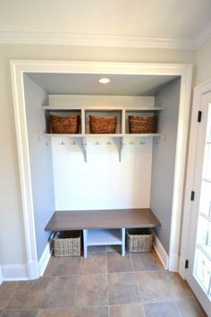 Let these mudroom entryway ideas welcome you home. Instantly tidy up and organize your hallway or entryway with industrial mudroom entryway. Front Hall Closet, Hallway Closet, Closet Mudroom, Closet Space, Laundry Closet, Small Entry, Front Entry, Front Hallway, Pinterest Home