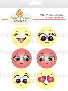 Lifers Emojis 1 Inch Face Set - Stamps for Die Cuts and Digital… Peachy Keen Stamps, Doll Face Paint, Craft Eyes, Face Template, Spring Coloring Pages, Drawing Heads, Clay Pot Crafts, Beaded Christmas Ornaments, Craft Day