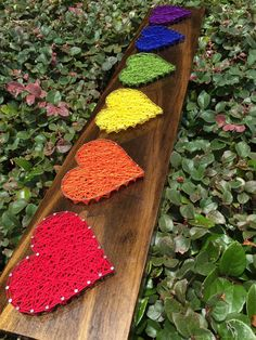 MADE TO ORDER - Rainbow Hearts String Art Wooden Board